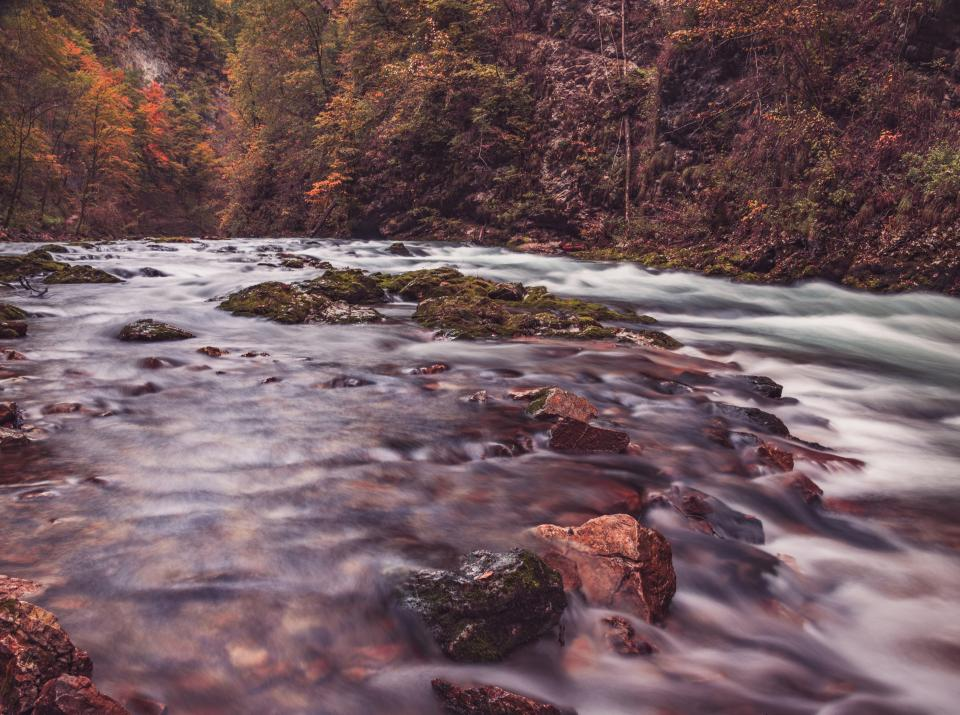 water waves ocean river sea lake rocks trees autumn fall long exposure