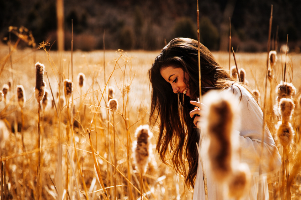 woman crops happy female girl people smile field wheat