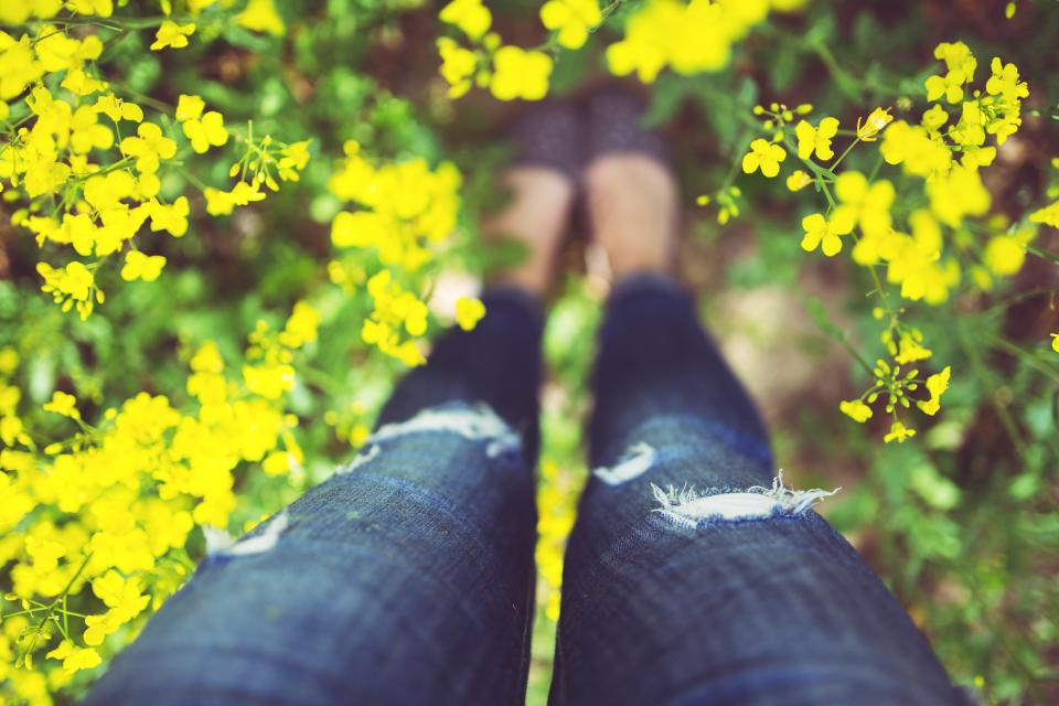 legs nature flowers girl woman jeans denim garden
