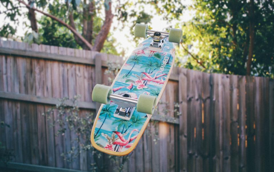 skateboard backyard fence trees wheels