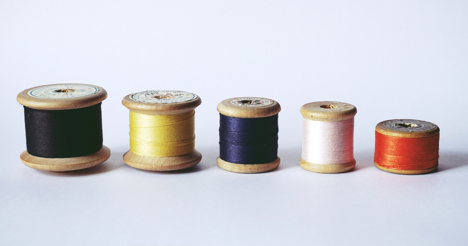 sewing reels thread vintage objects isolated background crafts diy cotton