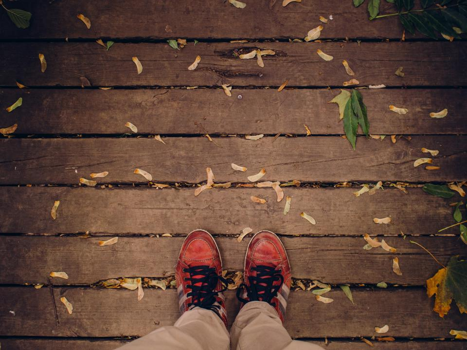 shoes laces wood planks deck leaves samara fall autumn nature outdoors