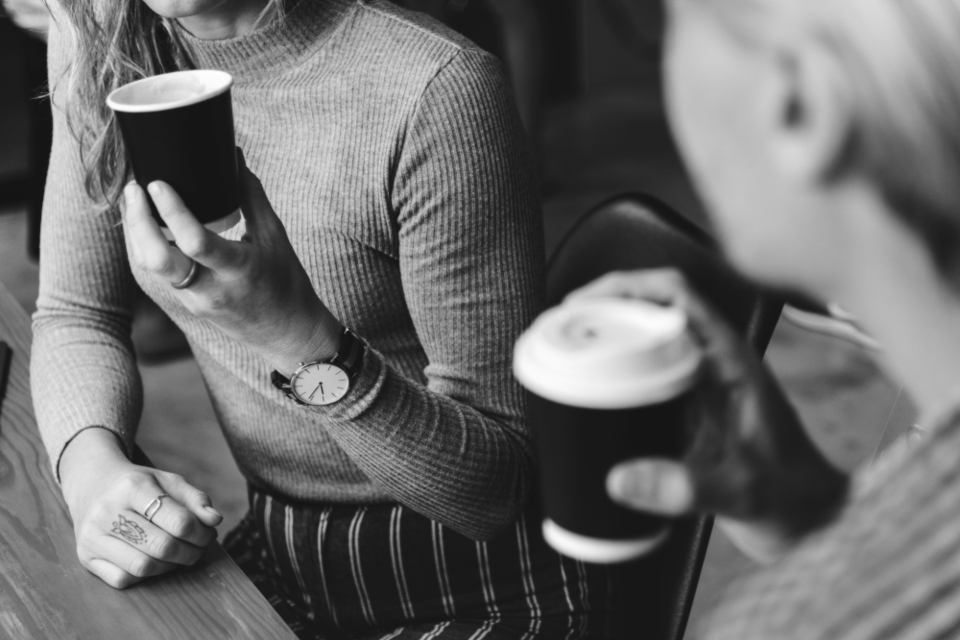 cafe couple business meeting coffee aroma beverage black and white grayscale monochrome break morning brewed caffeine calm cappuccino hands holding watch close up coffee house coffee culture cup decaf delicious drink espresso flavor