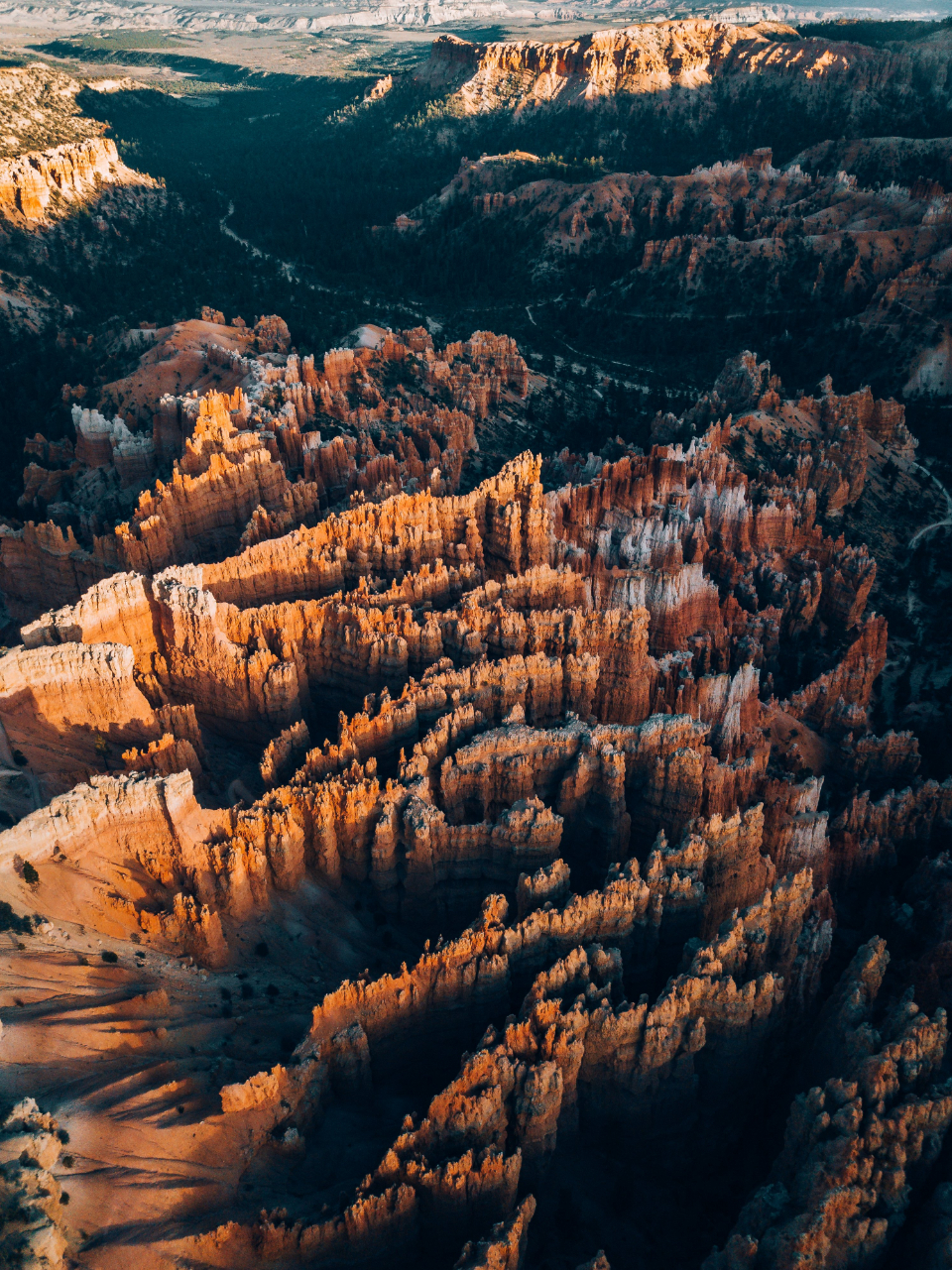 aerial canyon sunrise