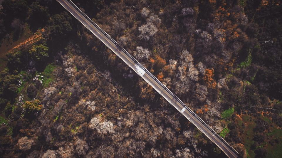 aerial view road