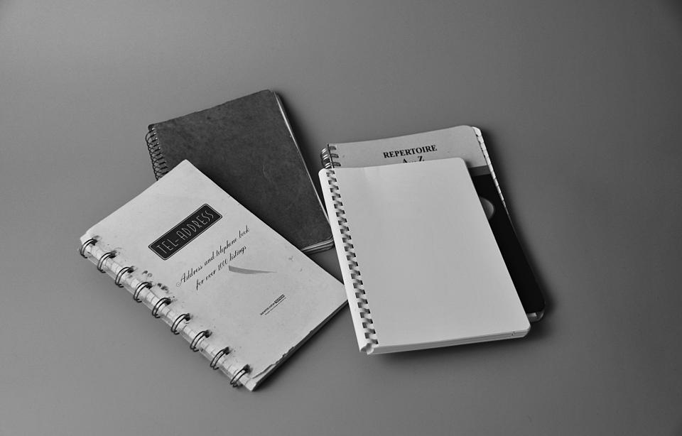 black and white notes notebook