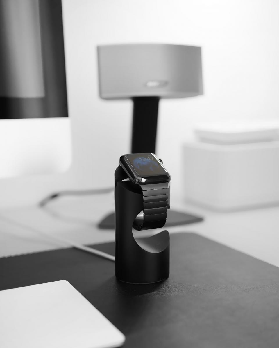 black and white table watch