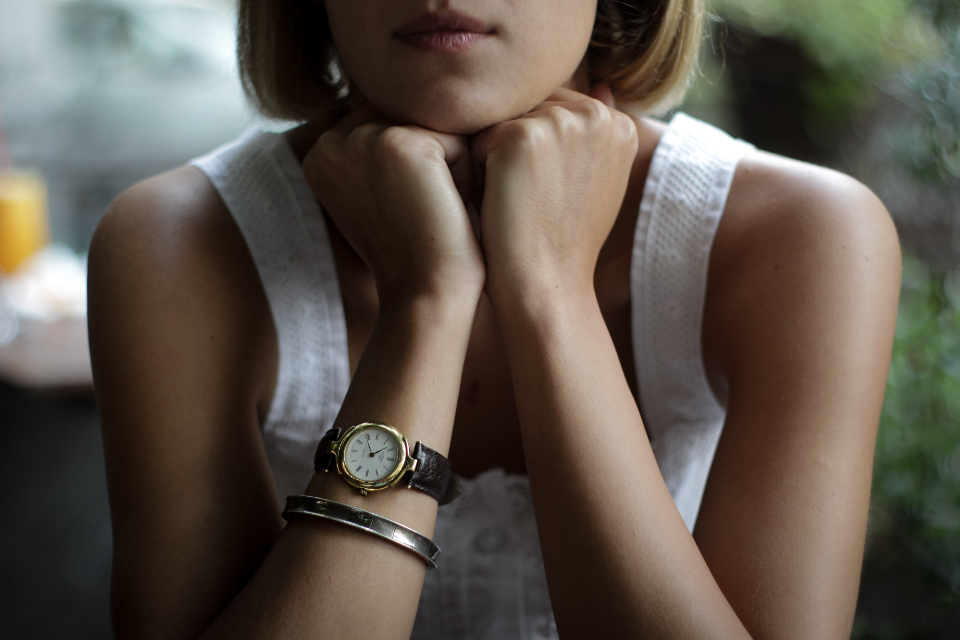 blonde woman wristwatch