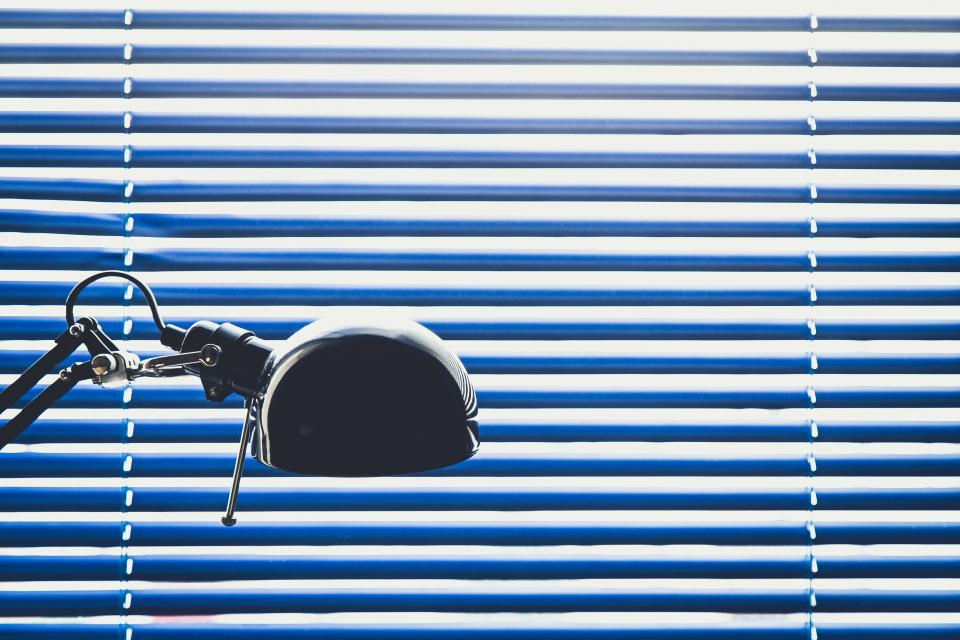 blue blinds lamp