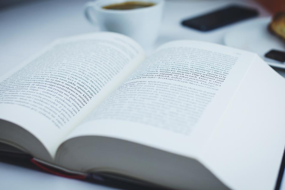 Free stock photo of book reading