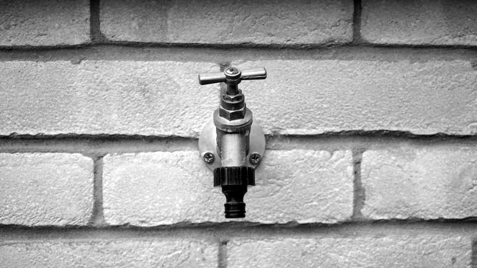 bricks faucet grayscale
