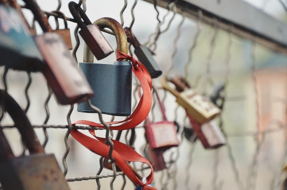 Free stock photo of chain link fence locks