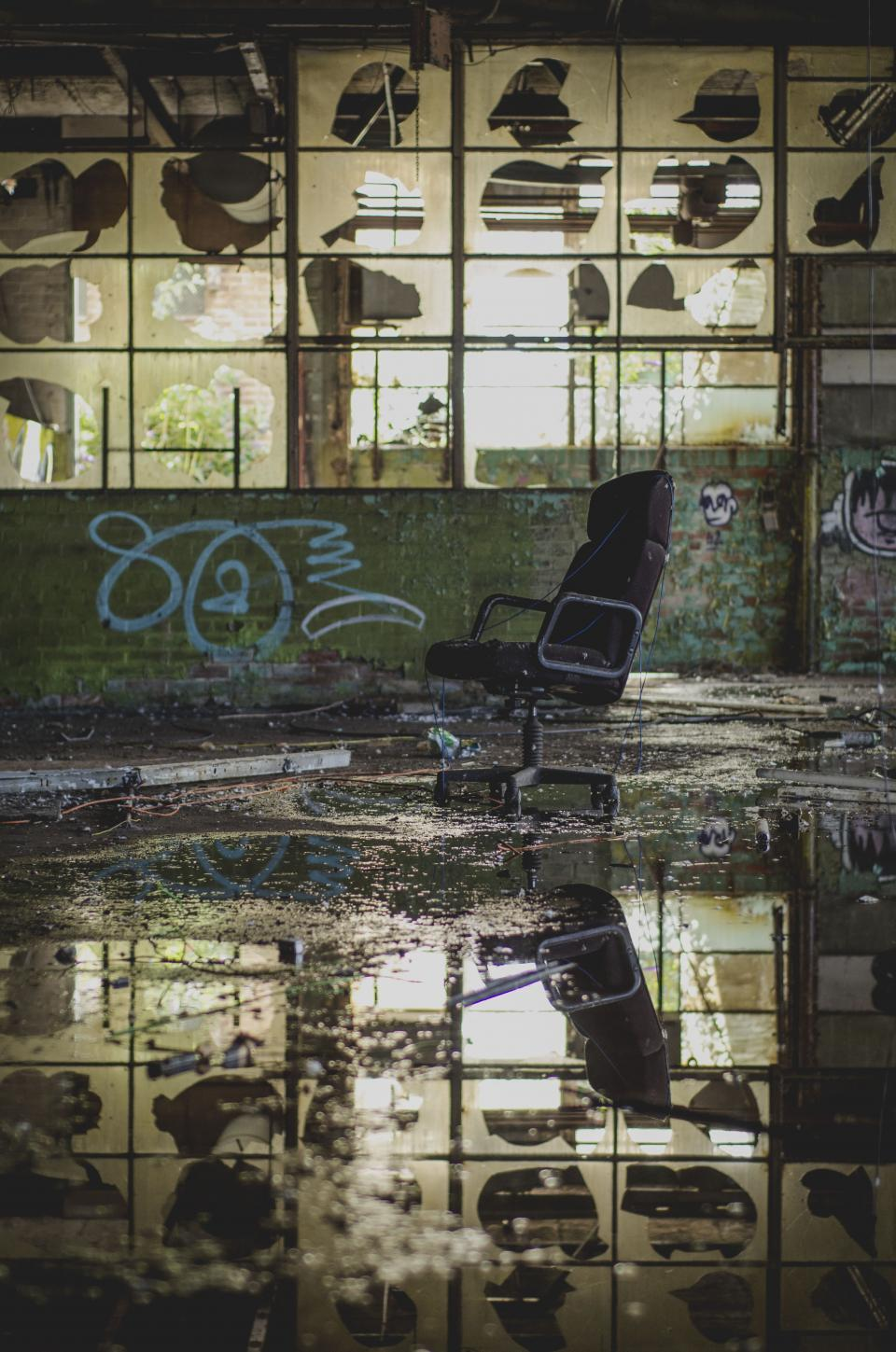 chair reflection water