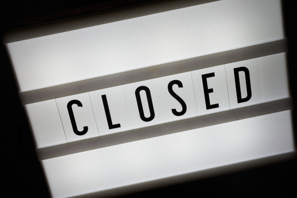 closed sign background