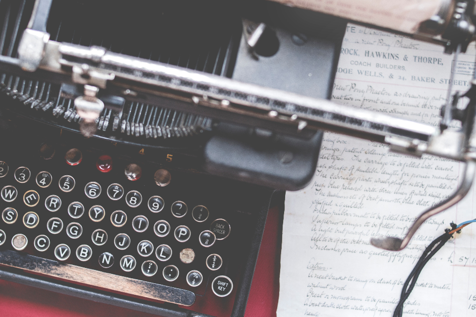 closeup letter typewriter