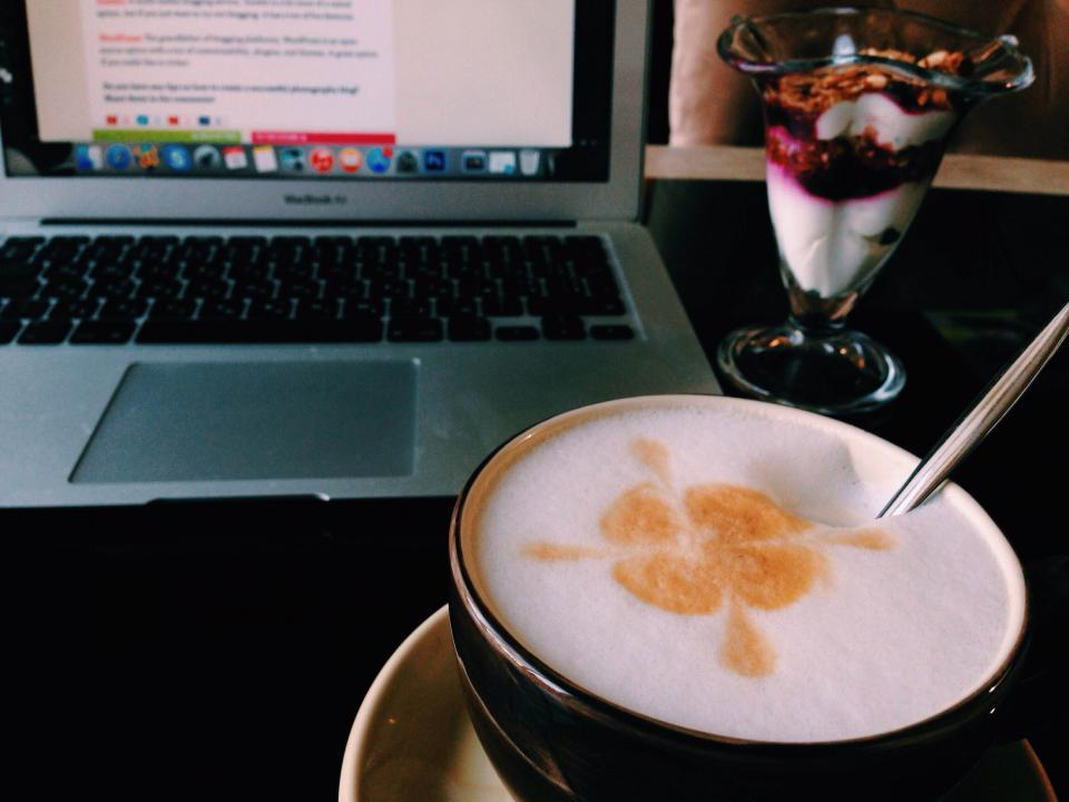 Free stock photo of coffee macbook air