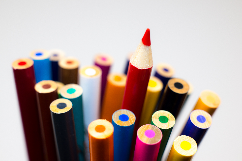 colored pencils different stand out