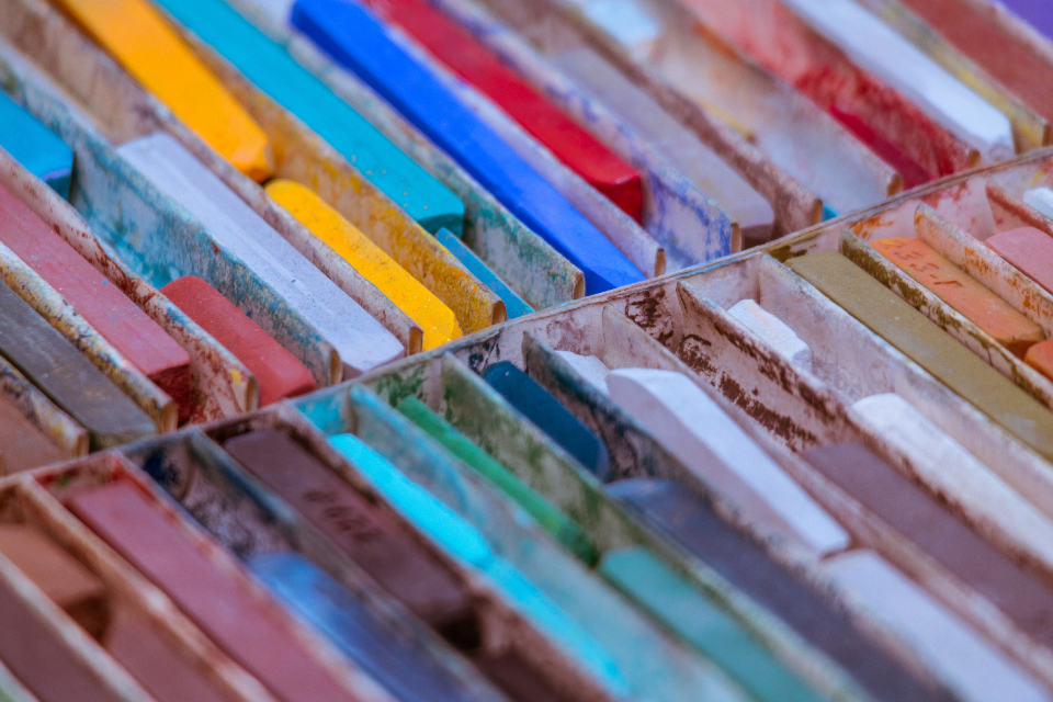 colored chalk close up