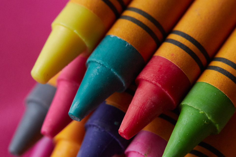 crayons close up background