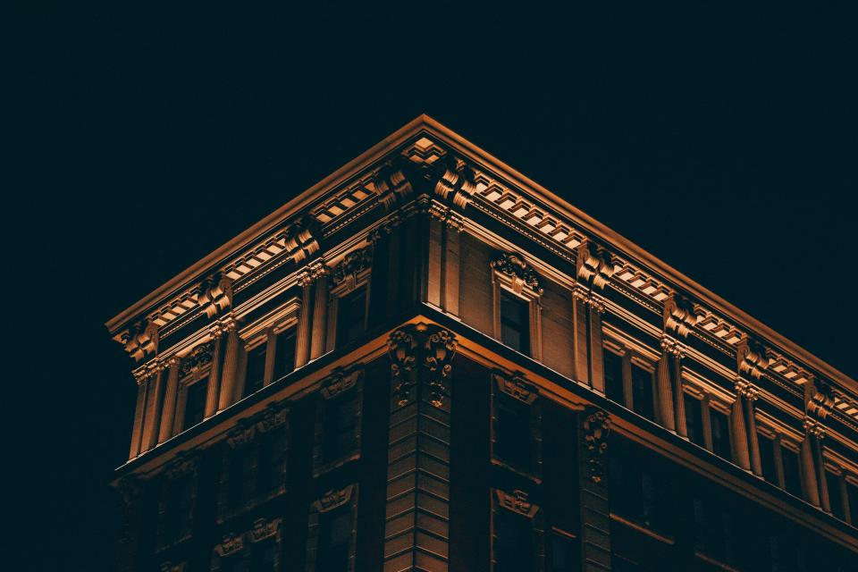 dark night building