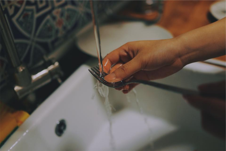 Free stock photo of dishes sink