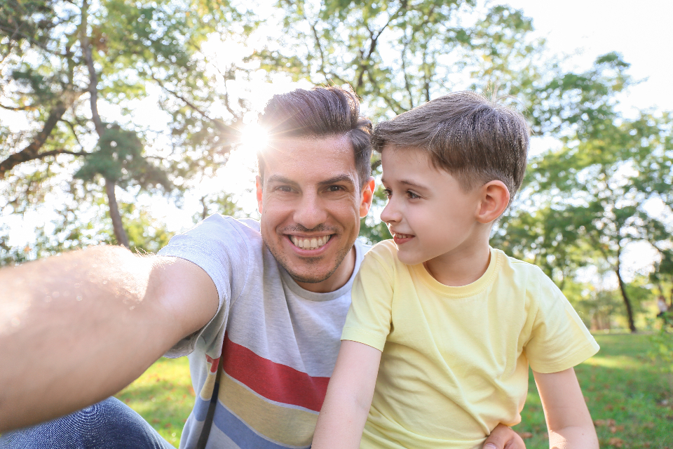 Free stock photo of father child