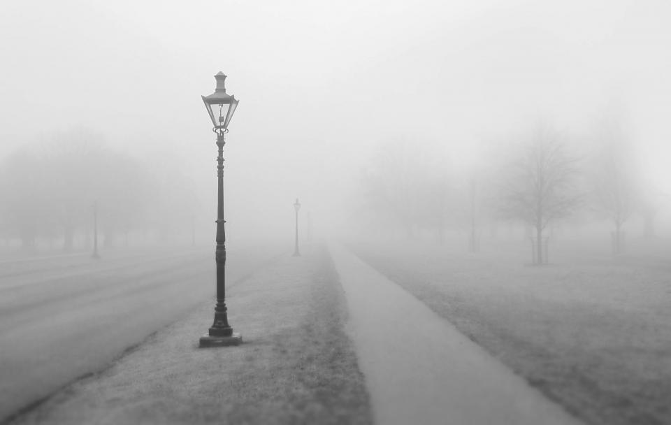 foggy lamp post sidewalk