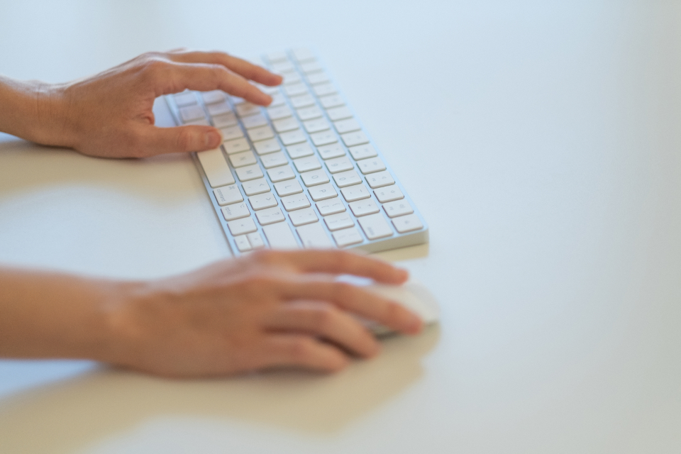 keyboard typing hands