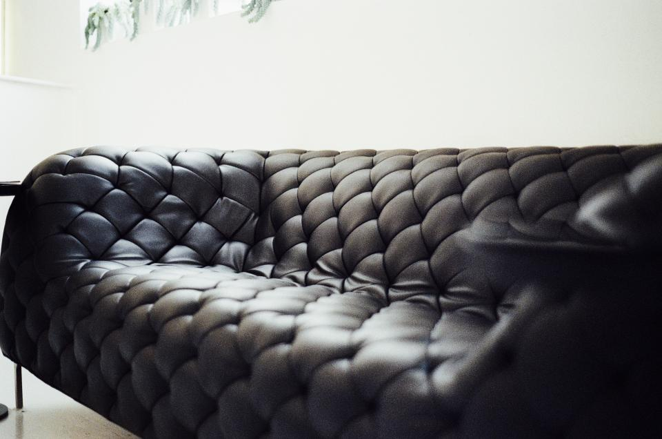 leather couch black