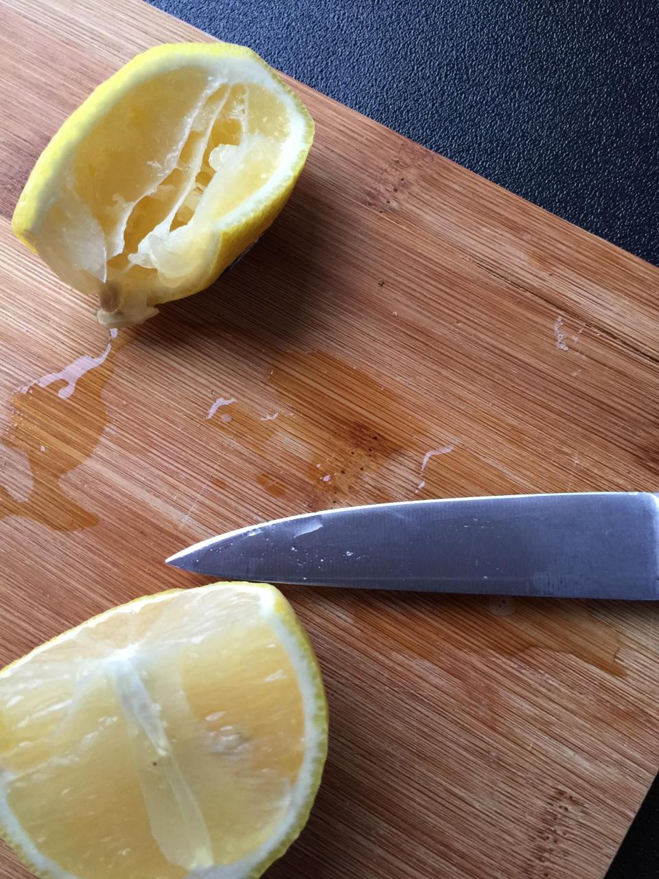 lemons fruits knife