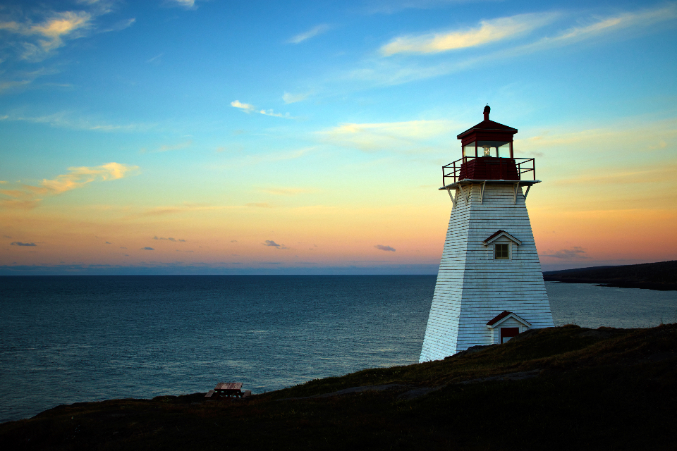 lighthouse sunset coast