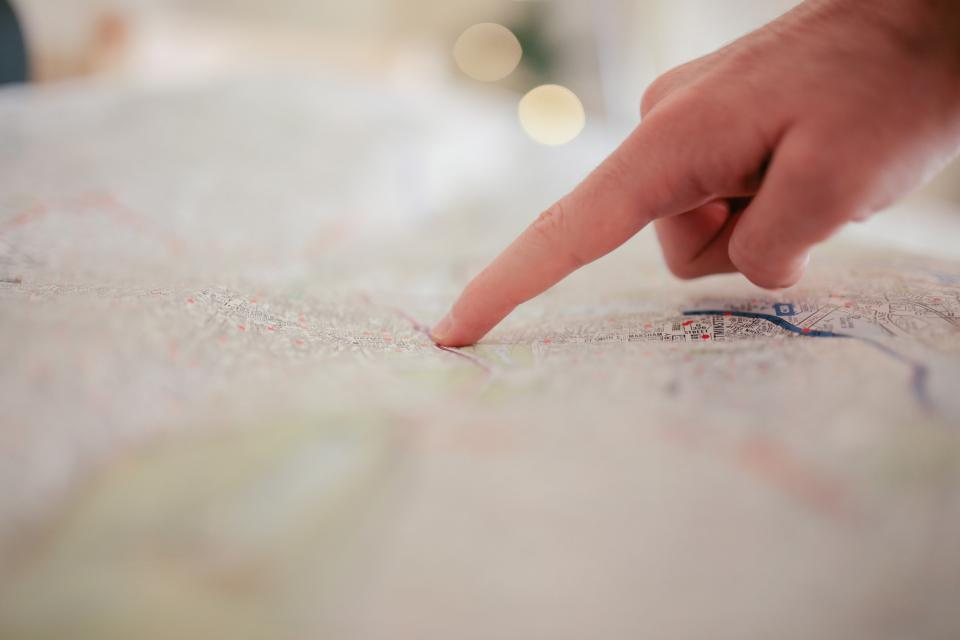 Free stock photo of map finger
