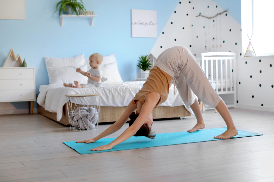 Free stock photo of mother yoga