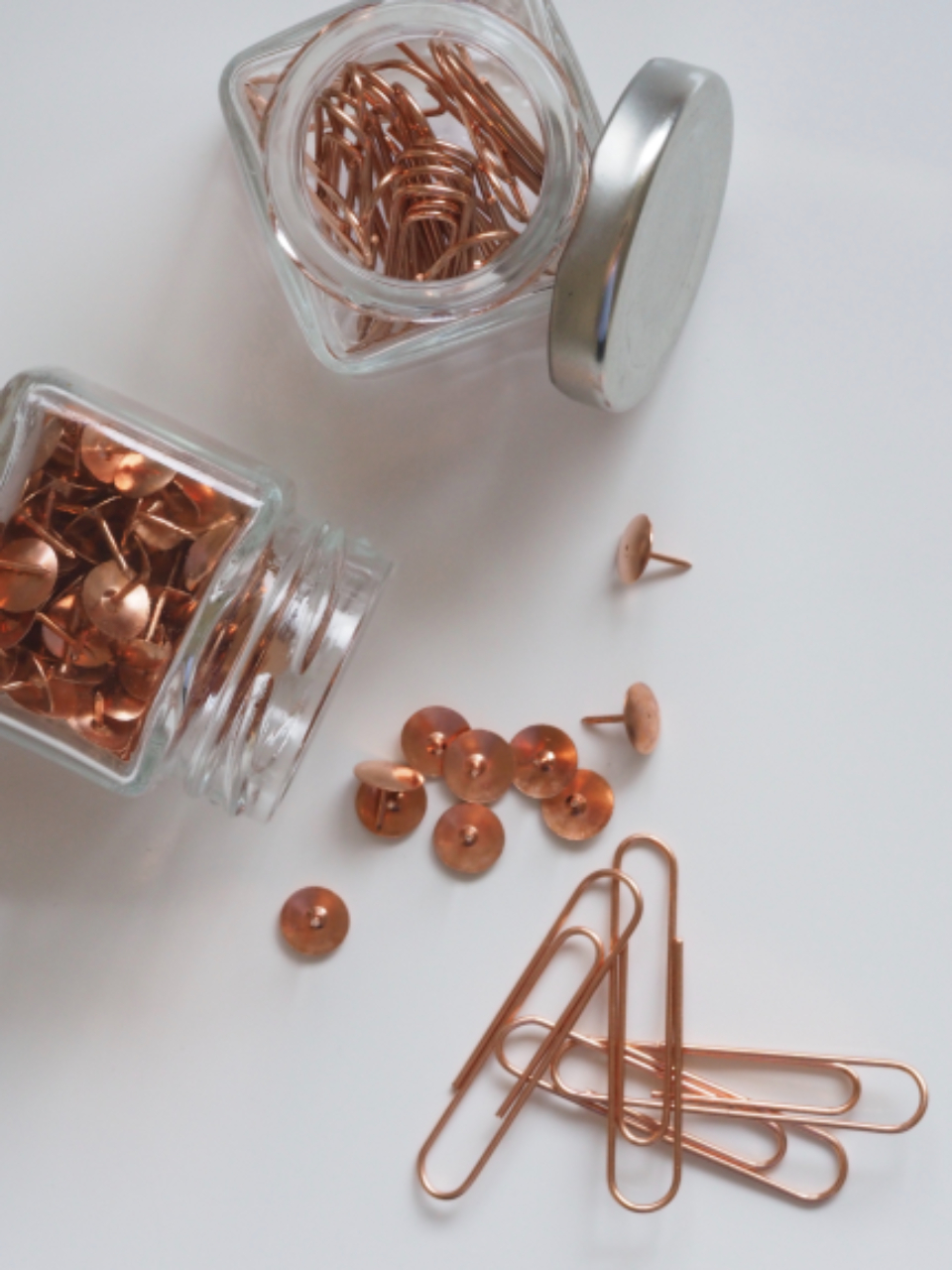 paper clips pins jars