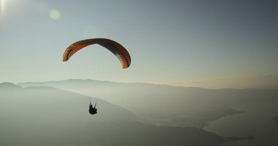 Free stock photo of paragliding people