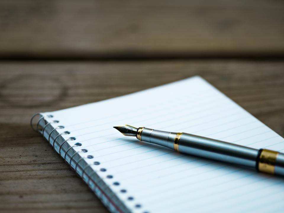 Free stock photo of pen notebook
