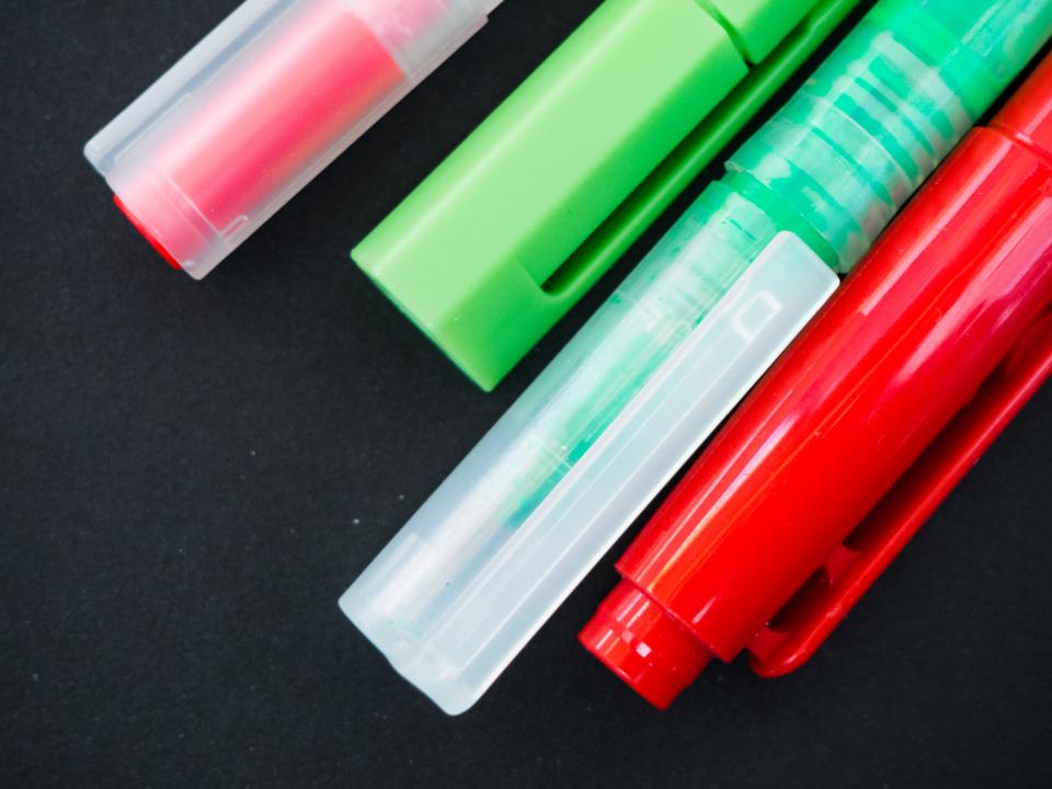 Free stock photo of pens highlighters