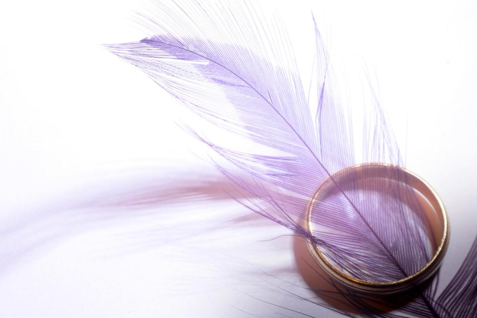 purple feather gold