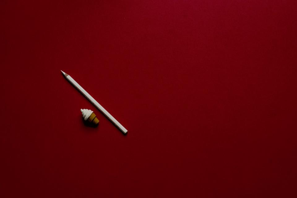 red white pencil