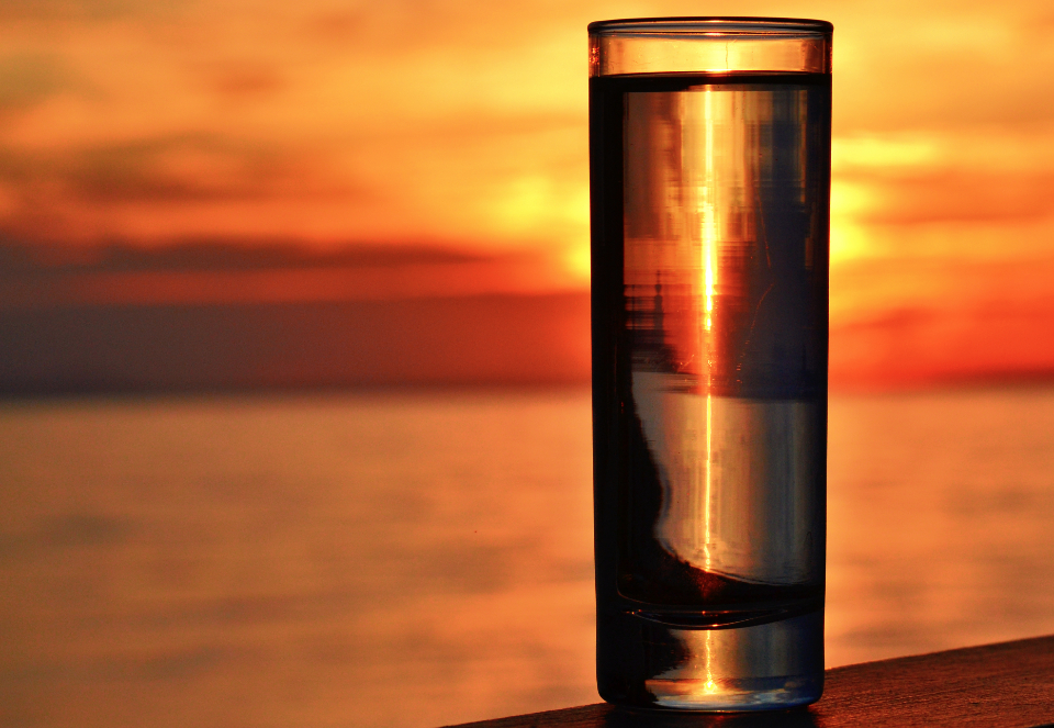 seascape sunset glass by the sea