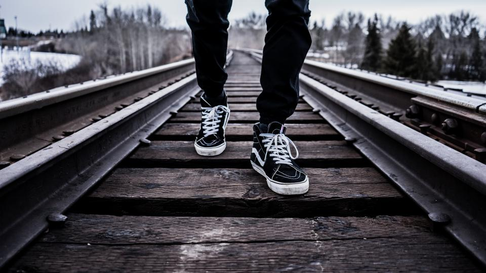 shoes sneakers train tracks