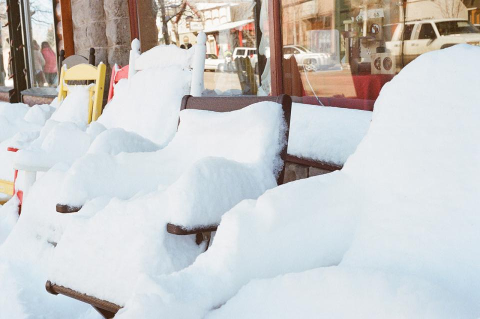 snow chairs winter