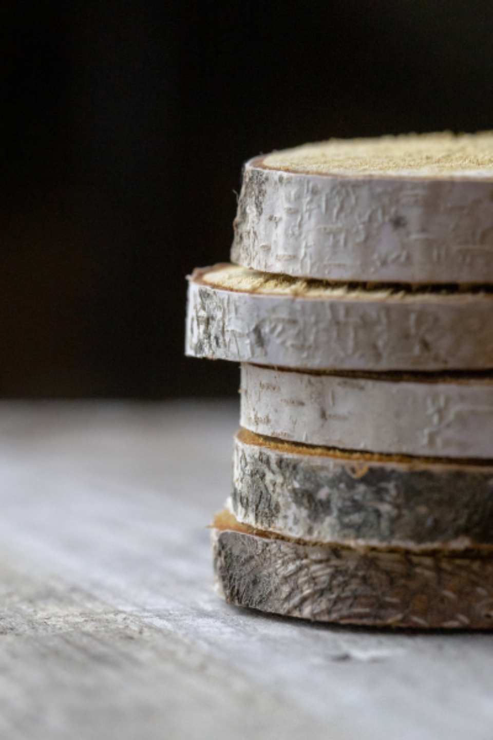 stacked wood slices