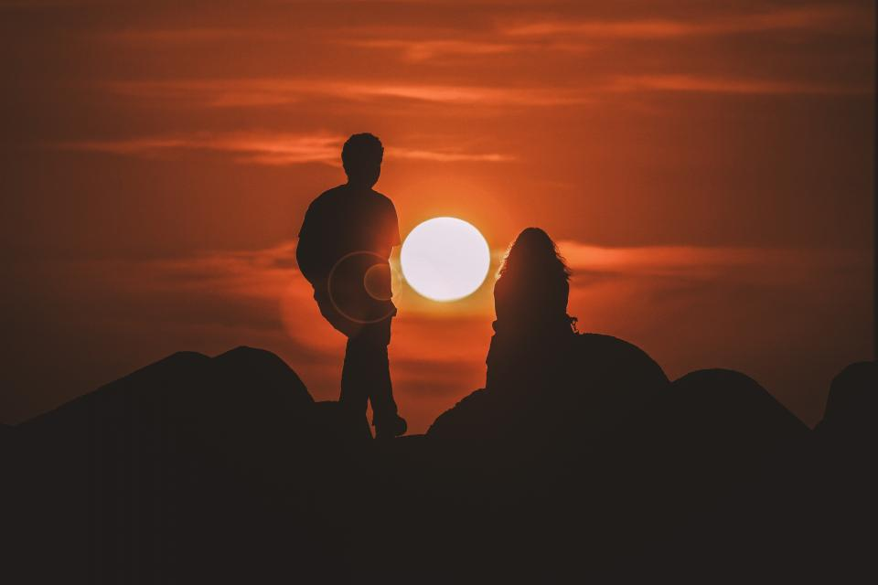 sunset view silhouette