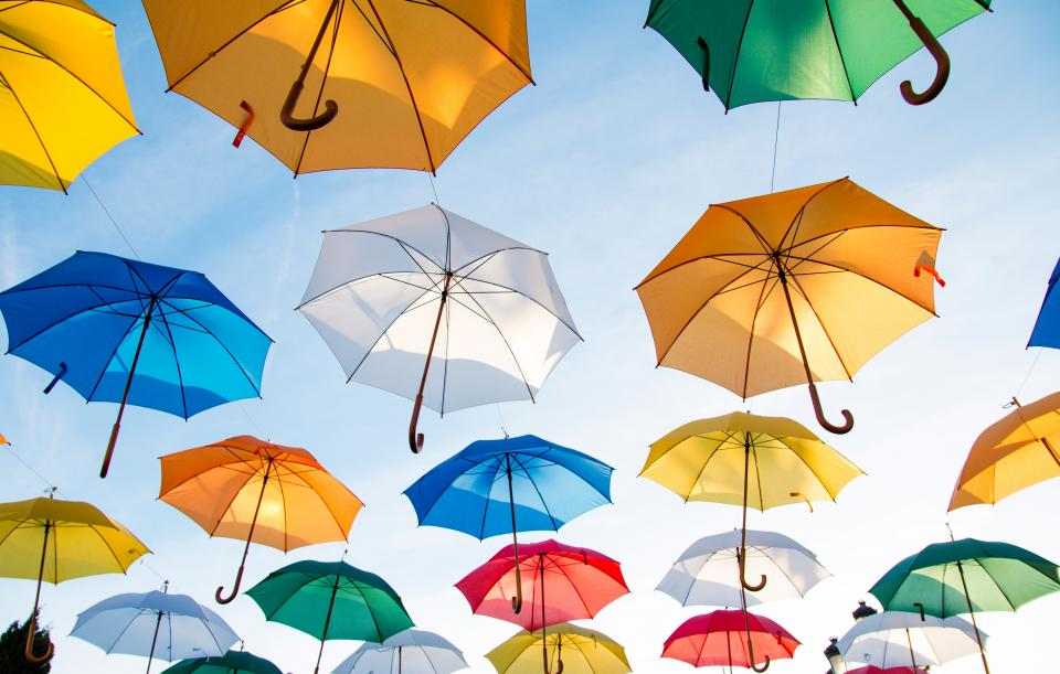 Free stock photo of umbrellas sky