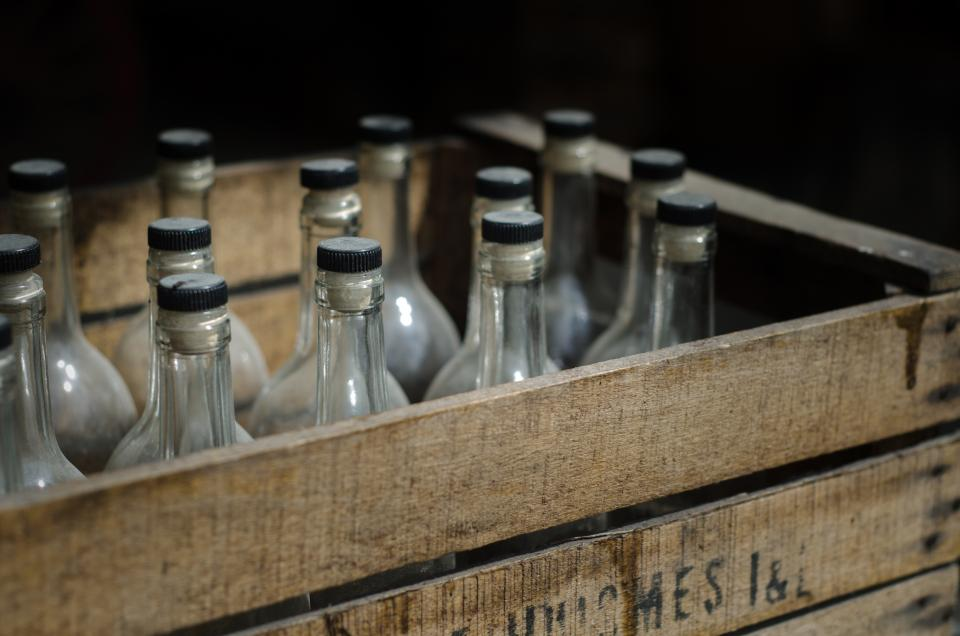 vintage crate glass