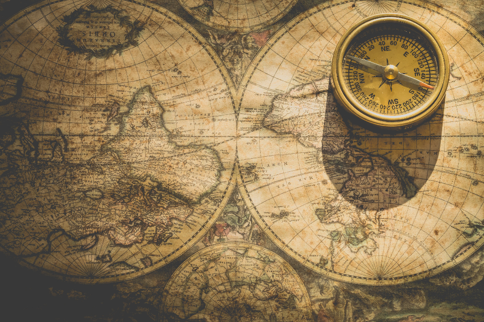 vintage world map compass