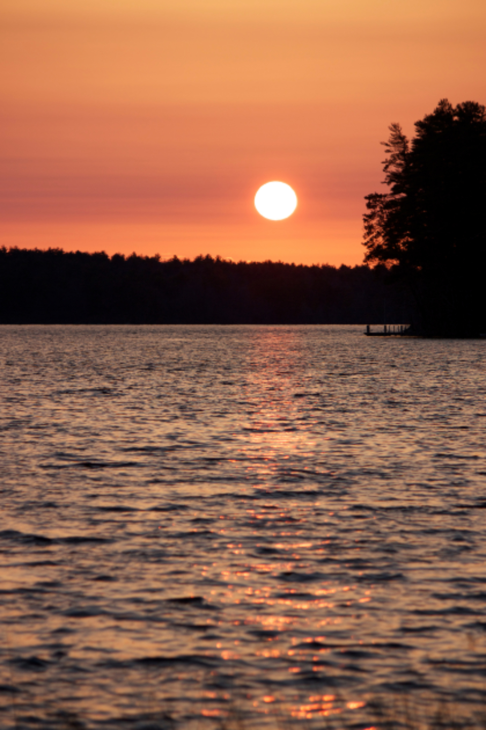 warm lake sunset