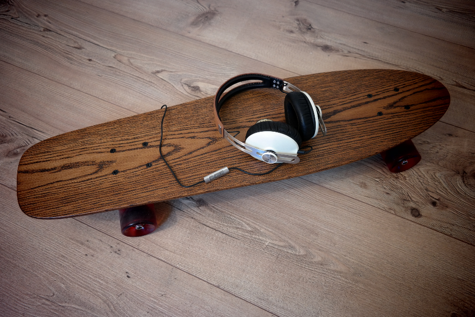 wood skateboard headphones