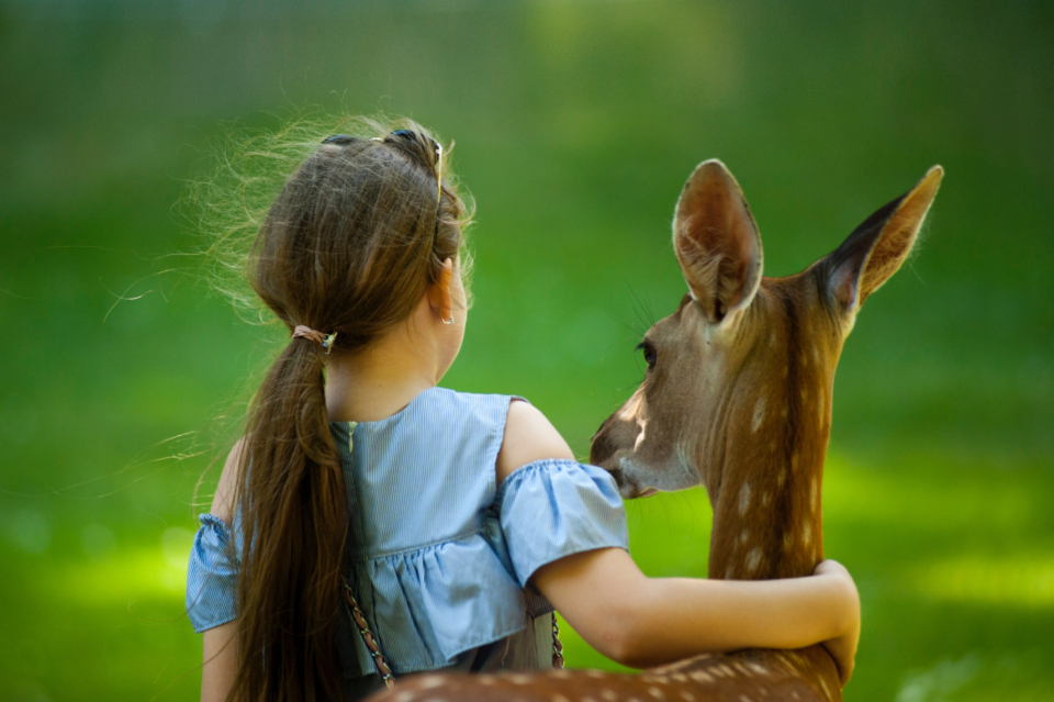young girl deer